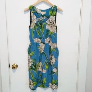 Anthropologie blue and white floral dress